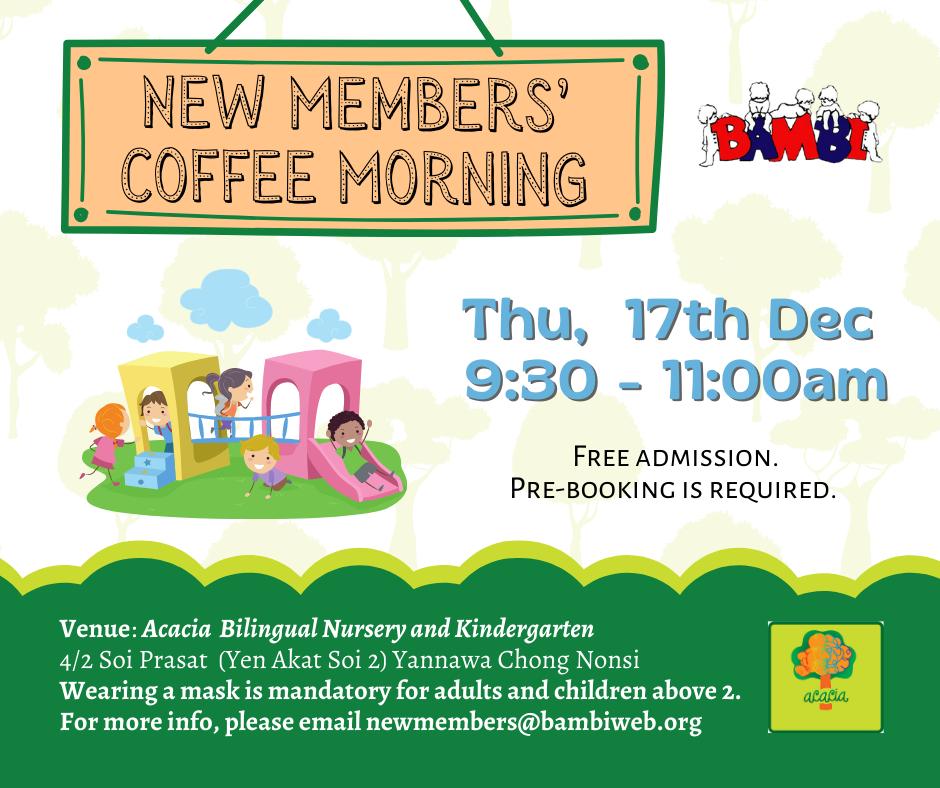 New Members Coffee Morning at Acacia Kindergarten