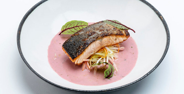 Pan-seared Salmon with Vegetables and Beetroot Sauce
